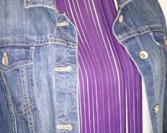 Purple Leather Necklace - Leather Fringe Necklace - Purple Leather Multi-Strand Necklace - Purple Leather Tassel Necklace - BDSM Jewelry