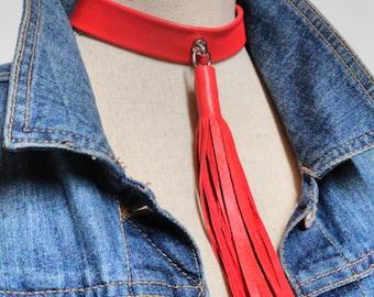 Red Leather Tassel Choker, Red Choker Tassel Necklace, Choker Tassel Necklace, Leather Choker, Leather Tassel Choker, BDSM Choker
