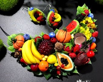 Juicy fruits necklace, Summer Style Necklace, Tropical Fruit Necklace, Necklace with Fruit, Fruit Jewelry, Food jewelry,  Berries jewelry