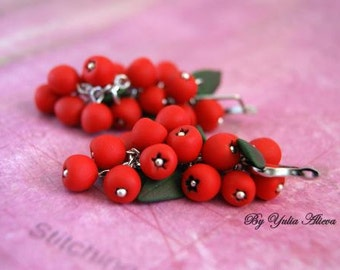 Red Berry Earrings, Cowberry Berries, Dangle Earrings, Berries jewelry, Berry jewelry, Polymer clay earrings, Polymer clay jewelry