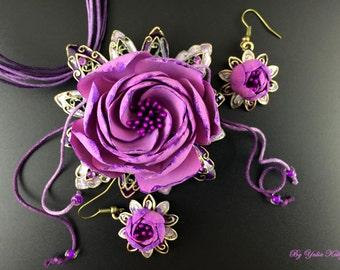 Flower Jewelry, Romantic Jewelry, Elegant Jewelry, Violet Jewelry Set, Polymer Eustoma, Flower Eustoma, Necklace Eustoma, Polymer Flowers