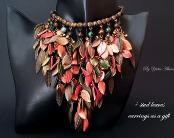 Necklace Fall Leaves, Autumn necklace, Polymer necklace, Leaves necklace,