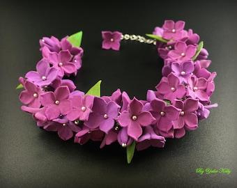 Gentle bracelet with purple lilacs, Purple lilacs, Bracelet with lilacs, Polymer clay lilacs, Lilac jewelry, Lilac flowers, Clay lilac