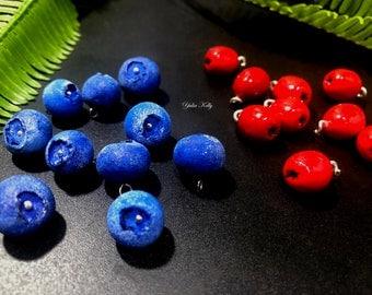 Berry beads, beads berry, blueberry beads, dogwood beads, polymer clay beads, summer beads, red beads, blue beads, Handmade beads