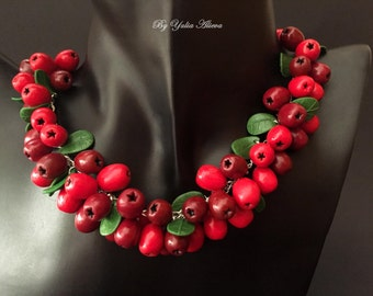 Necklace with berries, Berries jewelry, Red Berries, Polymer clay jewelry, Summer berry necklace, Red berry necklace, Cranberry necklace