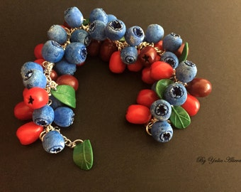Blueberry and berry of cornels bracelet, Berry jewelry, blueberry jewelry, blue jewelry, cornels jewelry, red  jewelry