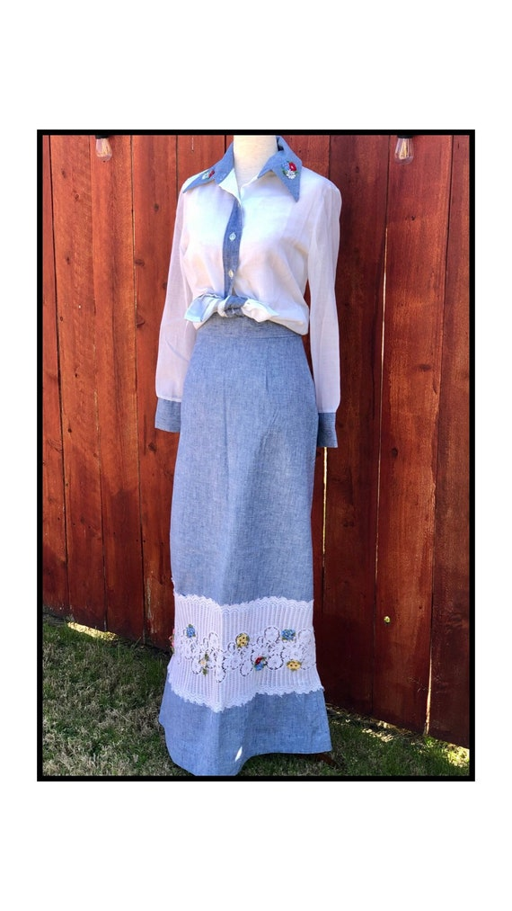 1970's Prairie Two Piece, Skirt and Top