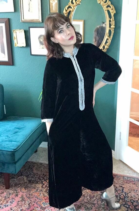 1960's Black Velvet Jumpsuit - image 1