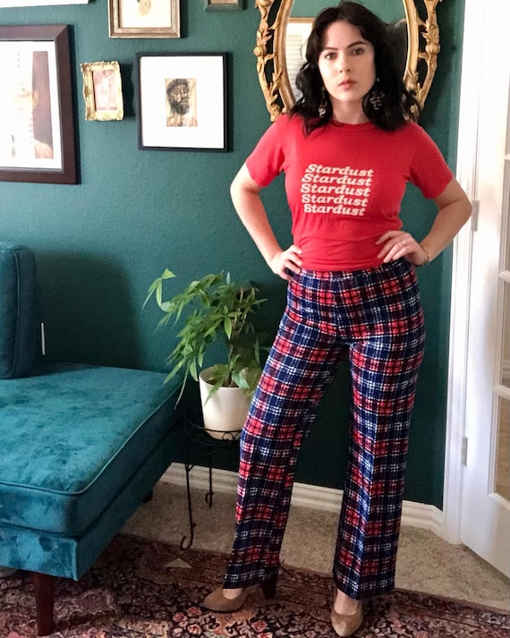 1970's Red, White and Blue plaid pants