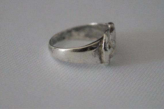 Vintage Sterling Silver Buckle Ring - Vintage Sil… - image 5