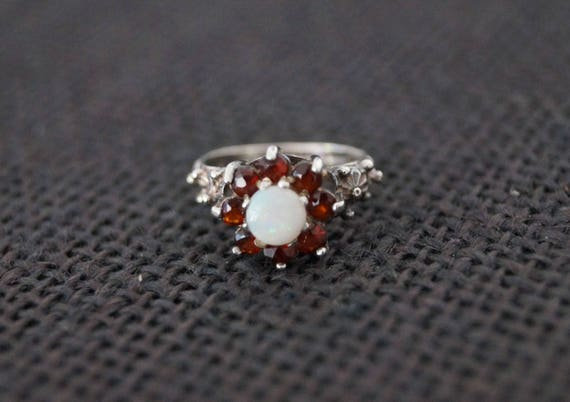 P Rb Silver Ring  Red Stones