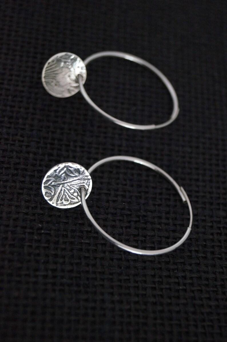 Silver Hoop Earrings Sterling Silver Hoop Earrings with embossed Sterling Silver disc Handmade Earrings Boho Earrings