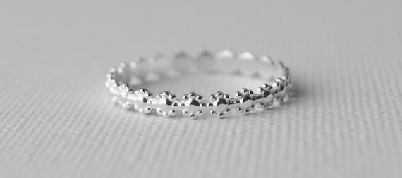 Hippie Jewelrygift item Stacking Ring Valentine Gift Sterling Silver Daisy Ring Flower embossed Hippy Wedding Band Stacker