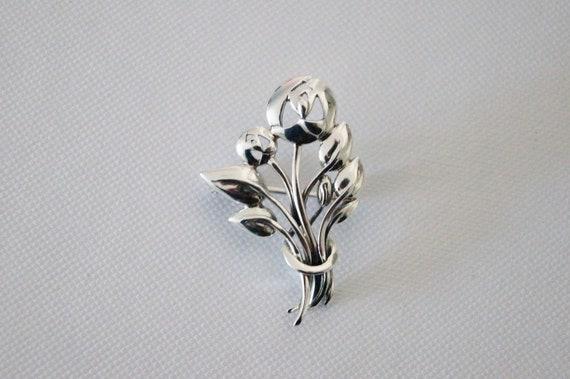 Vintage Sterling Silver Rose Brooch - Vintage Bro… - image 8