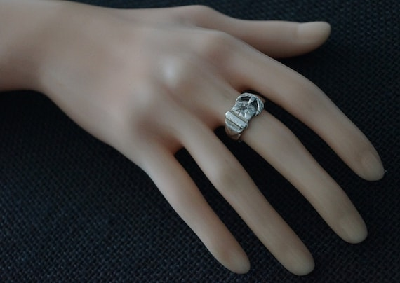 Vintage Sterling Silver Buckle Ring - Vintage Sil… - image 3