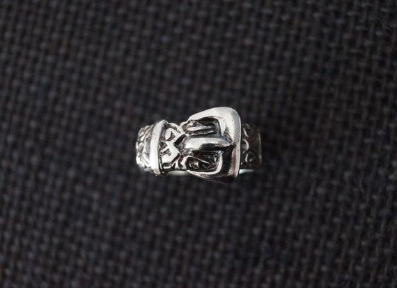 Size US 6 34 Heart design UK N Sterling Silver Gypsy Buckle Stacker Ring c1960s Vintage