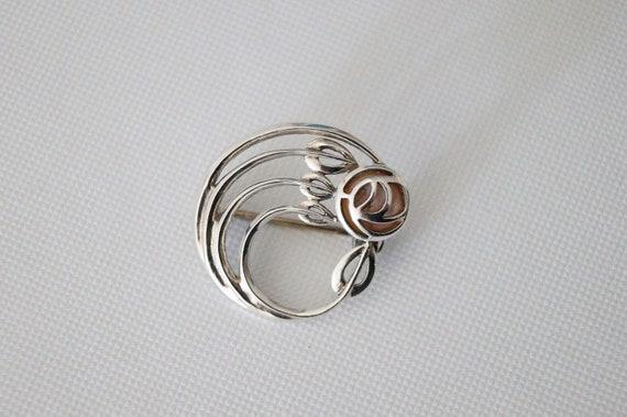 Vintage Sterling Silver Rose Brooch - Vintage Bro… - image 4