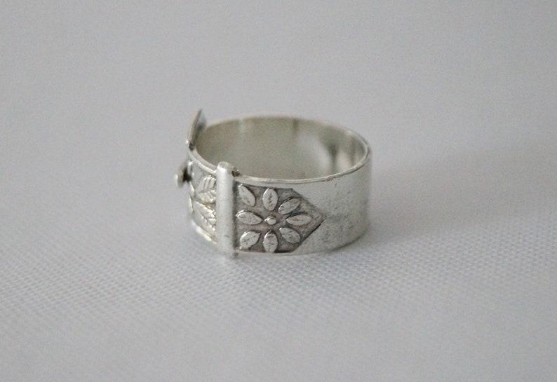 Vintage Silver Ring Large Vintage Buckle Ring size 7 12 or O 1978 Vintage Sterling Silver Ring Vintage Sterling Silver Buckle Ring