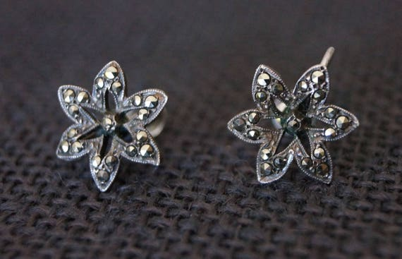 Vintage Sterling Silver Clip on Earrings - Vintage
