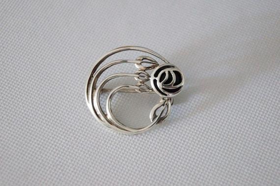 Vintage Sterling Silver Rose Brooch - Vintage Bro… - image 6