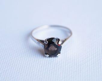 Vintage Sterling Silver Solitaire Ring - Vintage Engagement Ring - Vintage Silver Ring - Vintage Solitaire Ring - Vintage Ring L 1/2 6