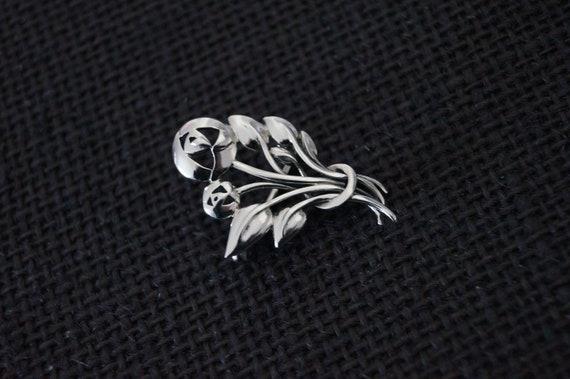 Vintage Sterling Silver Rose Brooch - Vintage Bro… - image 10