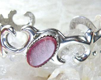 Vintage Sterling Bracelet – Navajo Sterling Silver Cuff Bracelet – Signed Navajo Sterling Spiny Oyster Cuff Bracelet, Navajo Sandcast Silver