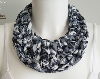 Bib necklace, crochet necklace, fabric necklace, t-shirt necklace, statement necklace, grey necklace, tie-dye necklace