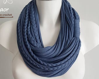 Navy blue scarf, T shirt scarf ,woman infinity scarf necklace, circle scarf, cotton fabric scarf, blue scarf, infinity scarf navy