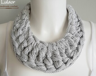 Bib necklace, crochet necklace, fabric necklace, t-shirt necklace, statement necklace, white necklace