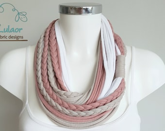 scarf for women, t shirt infinity scarf, loop scarf, fabric scarf, cotton fabric scarf, skinny scarf, pink scarf, fashion scarf handmade