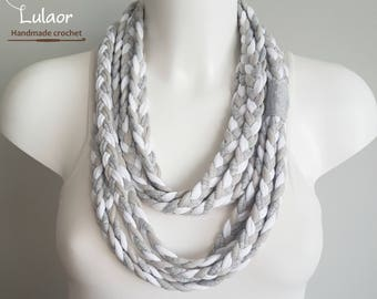 T-shirt scarf, t-shirt necklace, braided scarf, fabric scarf, fabric necklace, tricolor necklace, tricolor scarf