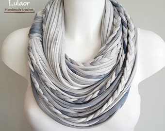 T shirt scarf, gray infinity scarf, circle scarf, fabric scarf, cotton fabric scarf, infinity scarf grey