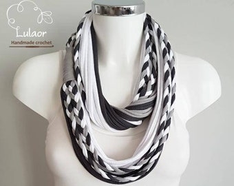 T shirt scarf, t shirt infinity scarf, loop scarf, fabric scarf, cotton fabric scarf, black scarf, gray scarf, skinny scarf