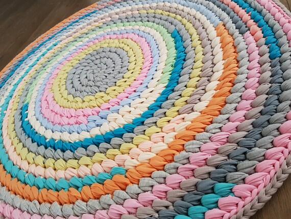 Häkeln Sie Runder Teppich Mehrfarbige Handgewebter Teppich Etsy