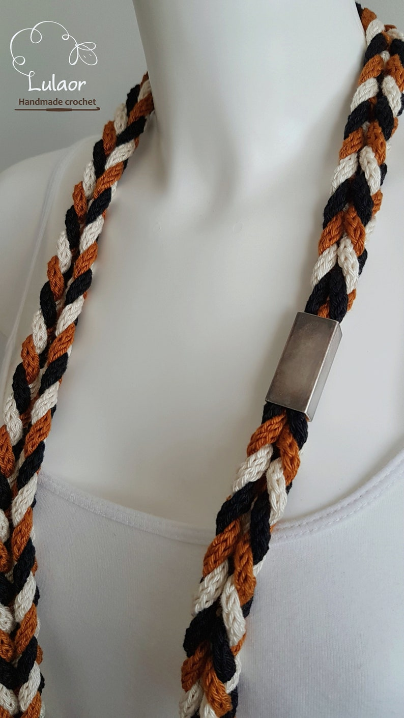 braided necklace loop necklace cord necklace Knit necklaces black and off white and burnt orange necklace