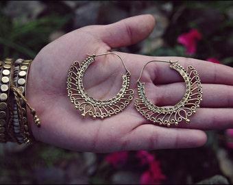 Bronze earrings. Brass Hoop Earrings. Ethnic style. Tribal Jewelry. Tribal earrings. Brass earrings. Gypsy Jewelry. Boho Earrings