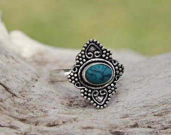ADJUSTABLE MANDALA RING with stones. Mandala ring silver with semi-precious stones. Tribal jewelry. Boho style. Boho jewelry. Ethnic.G