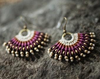 Earrings hoops macramé purple beaded bronze. Hoop earrings. Gypsy. Boho.