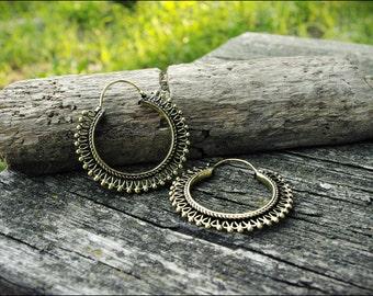 Bronze rings. Hoop earrings ethnic style. Tribal jewelry. Boho