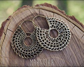 Bronze earrings. Brass Hoop Earrings. Gypsy Earrings. Brass Tribal Earrings. Ethnic Style. Tribal earrings. Boho. Ethnic.