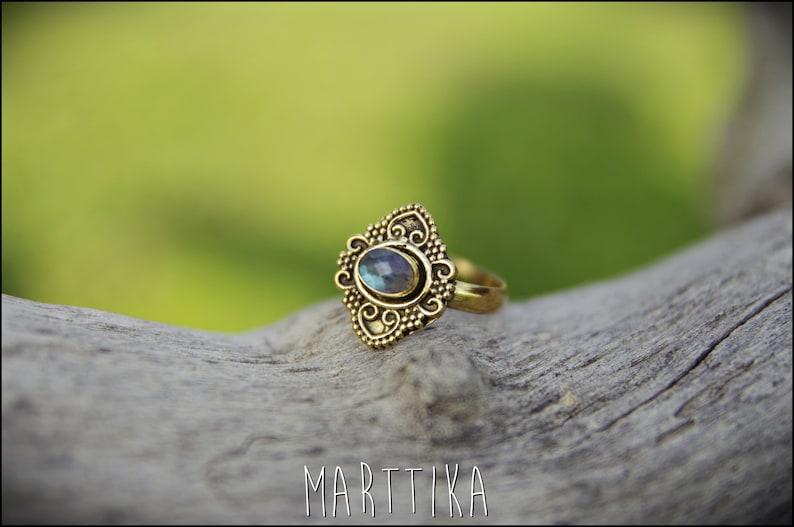 gypsy ethnic Tribal jewelry Adjustable brass ring with PIEDRA LUNA or LABRADORITA hippie Boho jewelry Adjustable ring chic