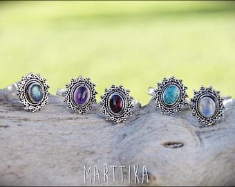 MANDALA RING with stones. Mandala ring silver with semi-precious stones. Tribal jewelry. Boho style. Boho jewelry. Ethnic. V