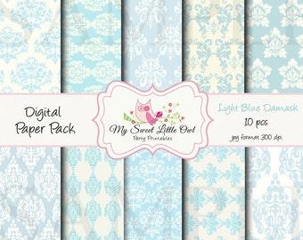 Light baby blue Damask Digital Paper Pack - Digital Background - Paper background - blue damask paper pack - light blue damask background