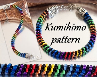 Rainbow Seed bead Bracelet Kumihimo 8 strands Pattern Tutorial PDF Layout Loading Braiding Instruction Boho Hippie Summer Beach Colourful