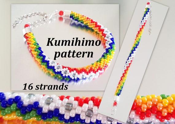 16 Strands Beaded Kumihimo Tutorial Pattern Rainbow Zigzag Etsy