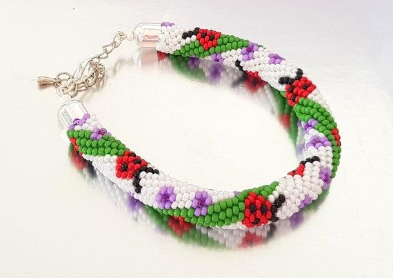20 strands Beaded Kumihimo Tutorial Pattern Seed Beads Ladybirds Bracelet  Braid Rope Kids Jewellery Summer Colorful PDF Bead Layout