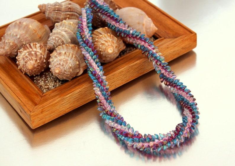 Magatama Artisan beadwork All occasions Braided rope OOAK Bead Jewellery Boho Kumihimo necklace Purple Lavender Unique Original