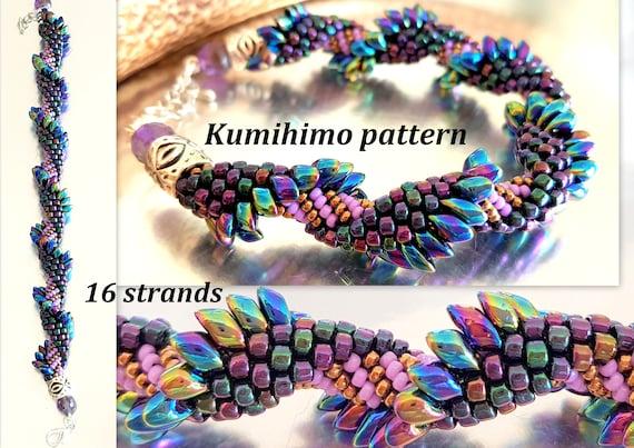 16 Strands Kumihimo Seed Beads Braid Bracelet Pattern Tutorial Etsy