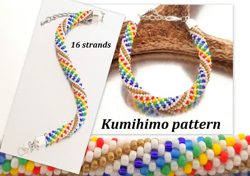 16 strands Beaded Kumihimo Rainbow Bracelet PDF Tutorial Pattern Loading  Braiding Instruction Colourful Seed Beads Rope Summer Beach Hippie